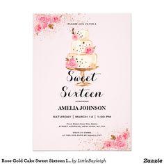 Rose Gold Cake Sweet Sixteen Invitation