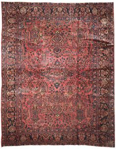 This beautiful Handmade Knotted Rectangular rug is approximately 10 x 13 New Contemporary area rug from our large collection of handmade area rugs with Persian Saruk style from Iran/Persia with Wool