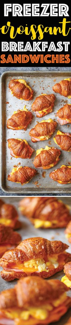 Freezer Croissant Breakfast Sandwiches - Prep for the week with these make-ahead sandwiches for those busy mornings! Filling, delicious and microwavable!