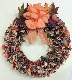 16' fall color Wreath with raffia by PensPreciousTreasure on Etsy