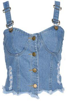 ROMWE | ROMWE Buttoned Denim Camisole Bandeau, The Latest Street Fashion