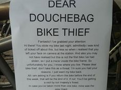 Bike thief victim gets own back with hilarious letter http://ind.pn/1on1KBR pic.twitter.com/hozD9mvfkJ