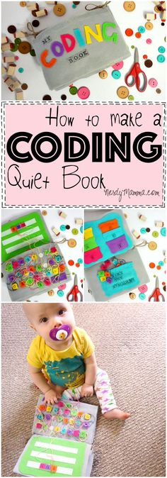 This easy tutorial for making a coding quiet book is so cute! Definitely need one for my little nerd! Diy Quiet Books, Baby Quiet Book, Felt Quiet Books, Easy Sewing Projects, Sewing Projects For Beginners, Diy For Kids, Crafts For Kids, Quiet Book Patterns, Toddler Books