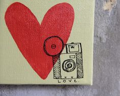 "Camera Art Painting - ""Camera Love"" - acrylic on canvas - coral, cream, black"