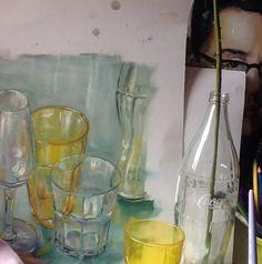 Pittura a olio su cartone.bicchieri