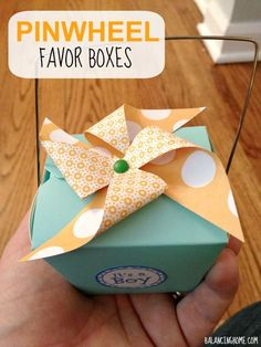 Pinwheel favor box. Super simple party favor that adds a total touch of whimsy! Perfect for a baby shower.