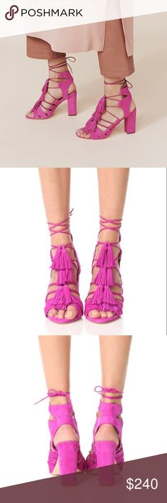 """Loeffler Randall Luz Sandal Beautiful Loeffler Randall Luz Lace up sandals with Tassel details. Size 8, 3.5"""" stacked heel. Made of kid suede in Azalea (pink) color. New in the box, never worn. Loeffler Randall Shoes Sandals"""