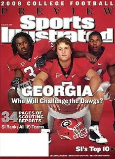 Preseason #1 UGA made the August 2008 cover of Sports Illustrated with the big 3 Matt Stafford, Knowshon Moreno & Dannell Ellerbe.
