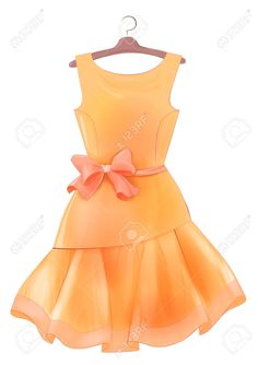 63388037-Vintage-orange-silk-dress-with-pink-bow-Outfit-for-party--Stock-Photo.jpg (917×1300)
