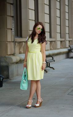 The lovely @ademko10 :: Yellow dress, white wedges and mint bag
