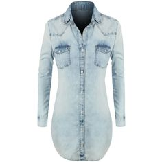 LE3NO Womens Classic Loose Fit Chambray Jean Denim Shirt Dress (46 CAD) ❤ liked on Polyvore featuring dresses, pocket dress, oversized dress, shirt-dress, blue dress and loose shirt dress