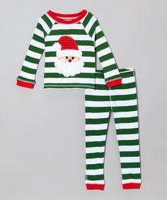 Loving this Green & White Stripe Santa Pajama Set - Toddler on #zulily! #zulilyfinds
