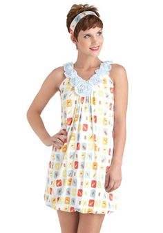 In Your Dreamsicle Nightgown by Munki Munki - White, Multi, Print, Flower, Kawaii, Cotton, Vintage Inspired, 60s