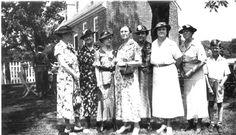 The ladies of the Thomas Rolfe Branch of Preservation Virginia at an event