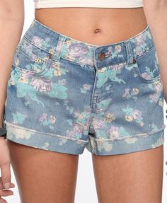 Cuffed Floral Print Denim Shorts | FOREVER21 - 2000038387