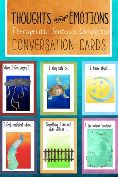 Conversation Cards to talk about thoughts, feelings, and emotions. Counseling therapeutic intervention helps children process what's going on in their lives like changes in the family, grief, anger, anxiety, goals, and hopes. Great for school counselors, parents, therapists, and other mental health professionals.