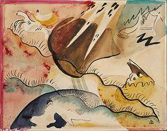Rain Landscape (1911)    Wassily Kandinsky (1866–1944, French, born Russia),    Medium: Watercolor on paper   Dimensions: H. 10, W. 12-1/2 inches (25.4 x 31.8 cm.).