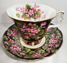 ROYAL ALBERT Cup and Saucer. Provincial Flowers MAYFLOWER Vintage Tea Set Duo. Floral Black Teacup and Saucer, pink flowers