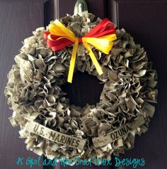 USMC Desert Cammie WreathWith Name Tapes by agirlandhercraftbox, $45.00