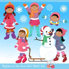 Playtime in the Snow African-american Girls Clipart Set African American Girl, American Girls, Snowman Images, Make A Snowman, Snow Girl, Banner Backdrop, Girl Clipart, Minnie Mouse Pink, Felt Books