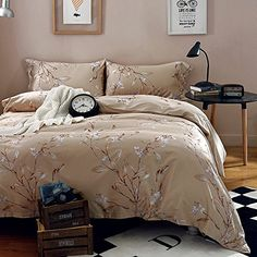 Buy Vintage Botanical Flower Print Bedding 400tc Cotton Sateen Romantic Floral Scarf Duvet Cover 3pc Set Colorful Antique Drawing of Summer Lilies Daisy Blossoms (King, Natural) - Topvintagestyle.com ✓ FREE DELIVERY possible on eligible purchases