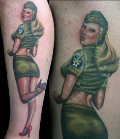 Military Pin Up Girl Tattoo - Amanda West http://pinupgirlstattoos.com/military-pin-up-girl-tattoo/