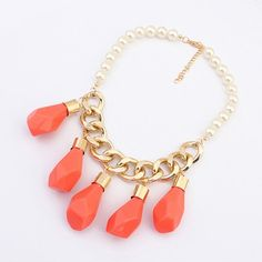 Upper Orange Irregular Water Drop Pendant Design Alloy Korean Necklaces:Asujewelry.com