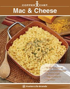 Mac and Cheese is easy and delicious when cooked in your Copper Chef nonstick pan! Cooper Chef Recipes, Copper Chef Square Pan, Red Copper Pan, Copper Pans, Baking Pans Set, Copper Cooking Pan, Power Air Fryer Recipes, Induction Recipes, How To Cook Steak