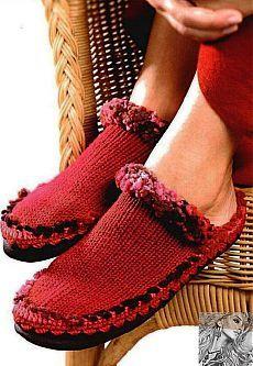 chinelos (tricô e crochê, descrição)
