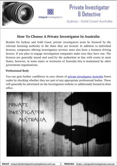 An integral investigation is top private investigator and detective agency in Australia. We have to best qualified and trusted private investigator. Private investigator Australia provides best offers And expert and cautious private examination benefit.