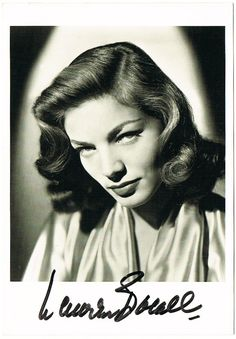 Lauren Bacall Autograph. Signed Photo. CoA
