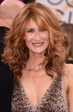 Laura Dern long curly hairstyle for women over 50
