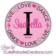 Live Love Dance Bat Mitzvah Logo, Bnai or Bnot Mitzvah Logo with Name and Initial - Custom Colors and Themes Available by Cutie Patootie Creations - www.cutiepatootiecreations.com