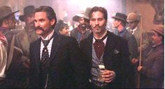 Tombstone Kurt Russell and Val Kilmer. Doc Holliday Tombstone, Tombstone 1993, Tombstone Movie, Tombstone Quotes, Doc Holliday Quotes, Wyatt Earp, Kurt Russell, Val Kilmer, Hell On Wheels