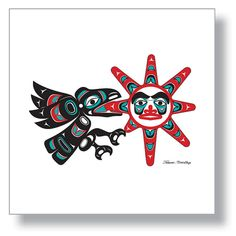 "$150.00 ""Raven Stealing the Sun"" Traditional Northwest Coast legend about Raven bringing light to the world. 12X12 Giclée Print Northwest Native American design by Israel Shotridge    #Raven #Sun #Legend #Northwest #NativeArt #Alaska #tlingit #giclee #NativeAmerican"