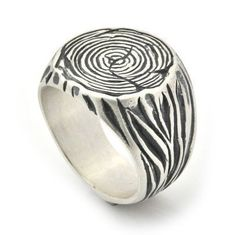 Mens Signet Ring  Tree Trunk silver Ring  by ByNatureJewellery