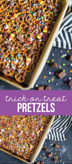 Trick or Treat Candy Pretzels - fun Halloween treats! Use up that leftover candy too. via www.thirtyhandmadedays.com