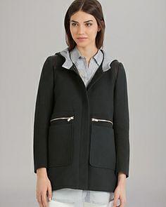 Maje Jacket - Hooded Leather Inset
