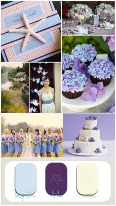 wedding inspiration, beach wedding, beach invitation, blue and lilac wedding, vintage place setting, hydrangea cupcake, lilac wedding cake, vintage beach wedding