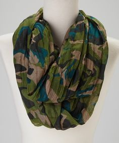 Take a look at this Blue Pacific Fashion Green Camo Scarf on zulily today!