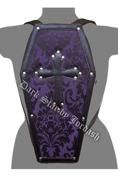 Dark Star - LeatherLook Coffin Backpack w/ Brocade Panel -Purple