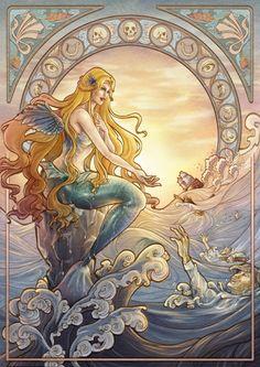art nouveau Trendy Art Nouveau Mermaid Be - art Fantasy Mermaids, Mermaids And Mermen, Real Mermaids, Mythical Creatures, Sea Creatures, Illustration Art Nouveau, Mermaid Illustration, Art Nouveau Poster, Poster Art