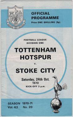 Vintage Football (soccer) Programme - Tottenham Hotspur v Stoke City, 1970/71 season.