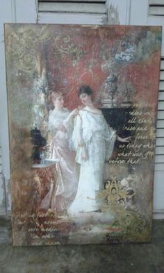 ! Mixed Media Canvas, Mixed Media Collage, Collage Art, Altered Books, Altered Art, Decoupage On Canvas, Old Mirrors, Handmade Books, Vintage Images