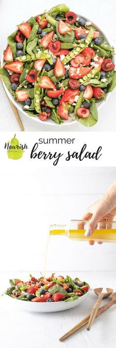 #ad Summer Berry Salad with easy white balsamic vinaigrette. This quick summer salad with homemade dressing is bursting with flavor without any added sugar #salad #entertaining via @nourishnutrico