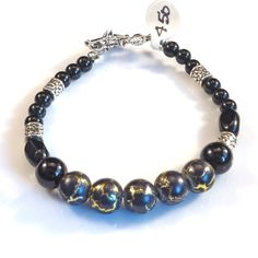 Women's Black and Gold with Silver Beaded Bracelet by DungleBees on Etsy