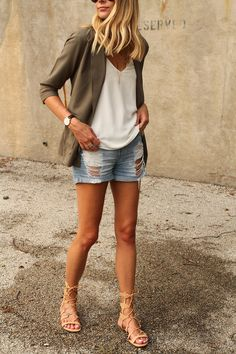 Perfect way to transition to fall: add a military jacket over distressed denim + gladiator sandals