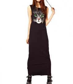 Black Cat Print Ankle Length Dress for Summer Cat Dresses, Long Dresses, Dress Long, Maxi Robes, Looks Style, The Dress, Dress Skirt, Shirt Dress, Look Fashion