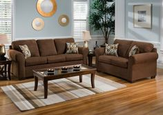 Living Room Wall Table decorating with a brown sofa | decorating, brown and living rooms