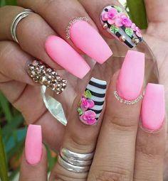 3d Nail Designs, Acrylic Nail Designs, Pink Nail Art, Pink Nails, Red Nail, Pastel Nails, Hot Nails, Swag Nails, Gorgeous Nails